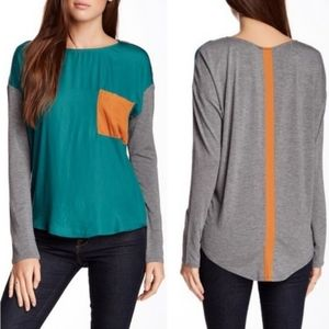 Dolan Silky Front Colorblock Pocket Top